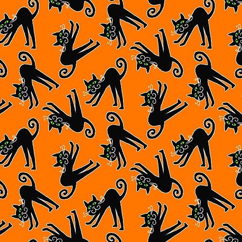 Here We Glow Orange Tossed Cats Glow In The Dark Fabric