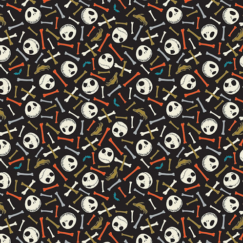 FLANNEL - Nightmare Before Christmas Multi Skull and Bones Flannel Fabric