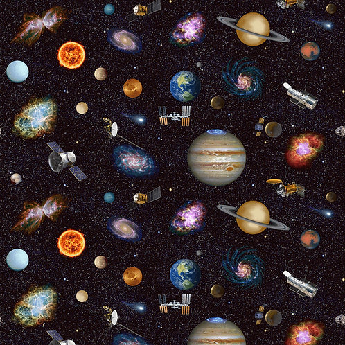 Planetary Missions Outer Space Fabric Large Print