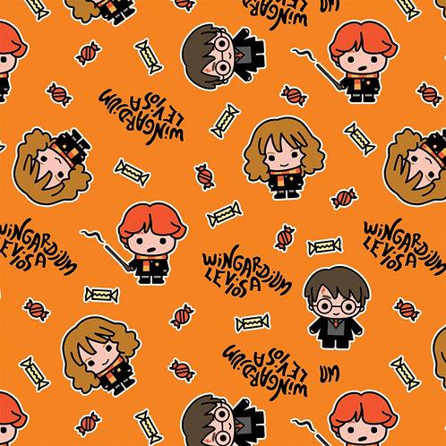 Harry Potter Hogwarts Halloween Fabric - Orange