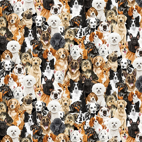 Packed Realistic Dogs Fabric