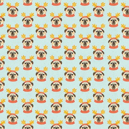 Bah Hum Pug Faces Christmas Fabric