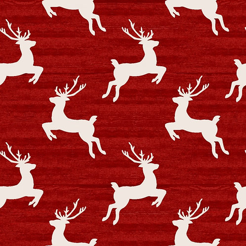 Home for The Holidays Red Reindeer Fabric