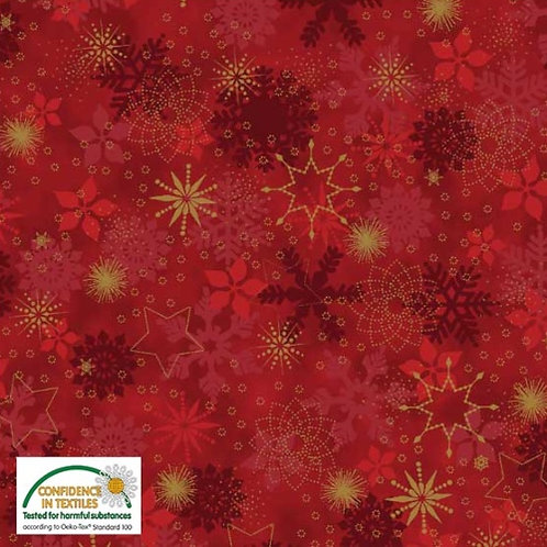 Red Snowflakes and Stars 1 Fabric