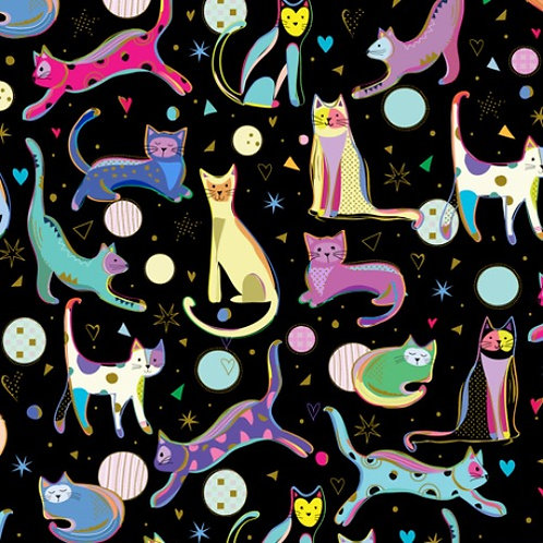 Kitty Cats Black Cats - Quilting Treasures Cat Fabric