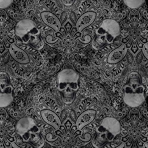 LP Wicked Fog Black Skull Damask Fabric