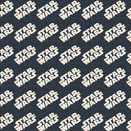 Star Wars Logo and Tiny Dots Fabric - Navy