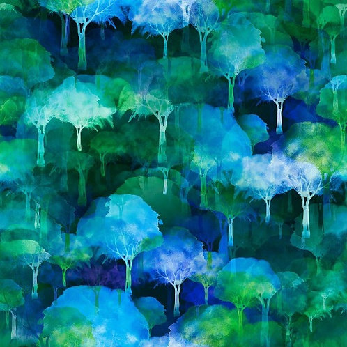 Urban Jungle Trees Fabric - Blue/green