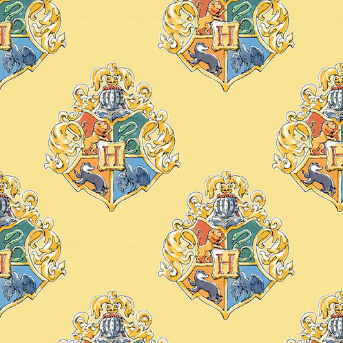Harry Potter Watercolour Crests Fabric - Yellow