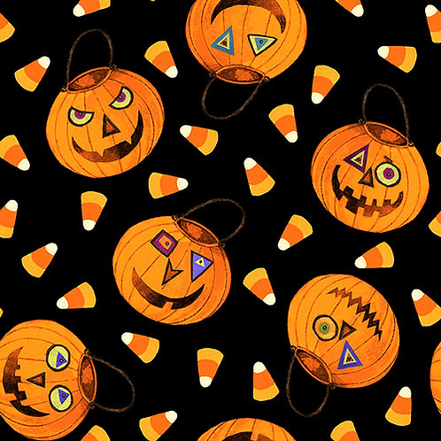 Witchful Thinking Black Pumpkins and Candy Corn Halloween Fabric