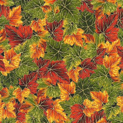 Leaves Autumn Harvest Fabric with Metallic