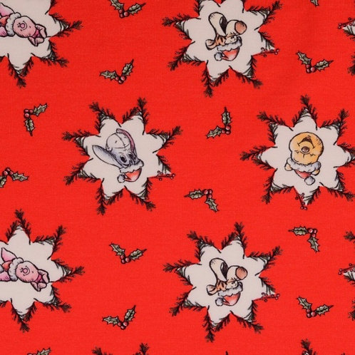French Terry - Red Stars Winnie the Pooh Fabric