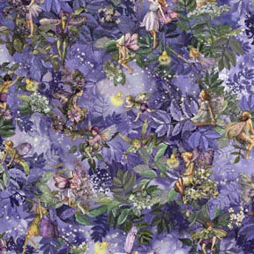 Nite Night Flower Fairies Allover With Metallic Glitter Fabric
