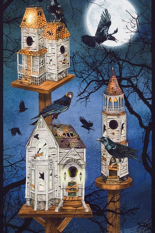 Raven Moon House Halloween Fabric Panel