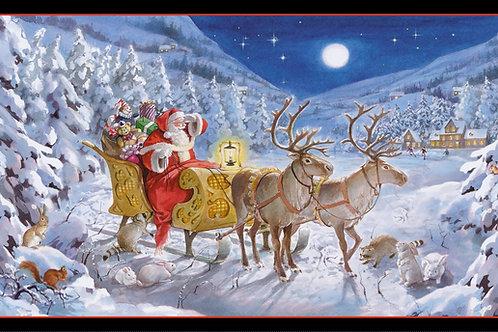 Santa Claus is Coming Christmas Fabric Panel