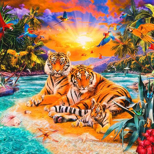Wild Tigers fabric panel