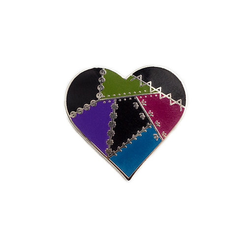 Pin Peddlers Dark Patched Heart Pin