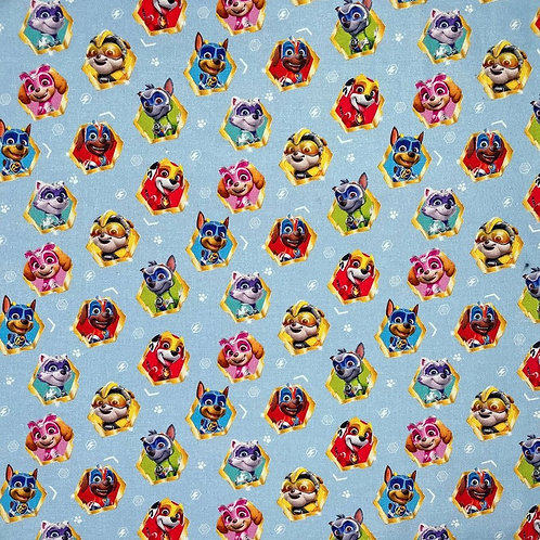 Paw Patrol Characters Blue Fabric