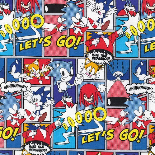 Sega Sonic the Hedgehog Lets Go Fabric