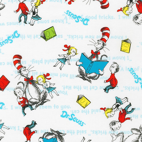 Dr. Seuss The Cat in the Hat White Fabric
