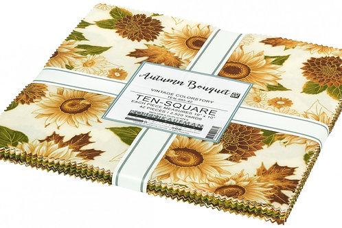 Robert Kaufman Autumn Bouquet Vintage Layer Cake with Metallic