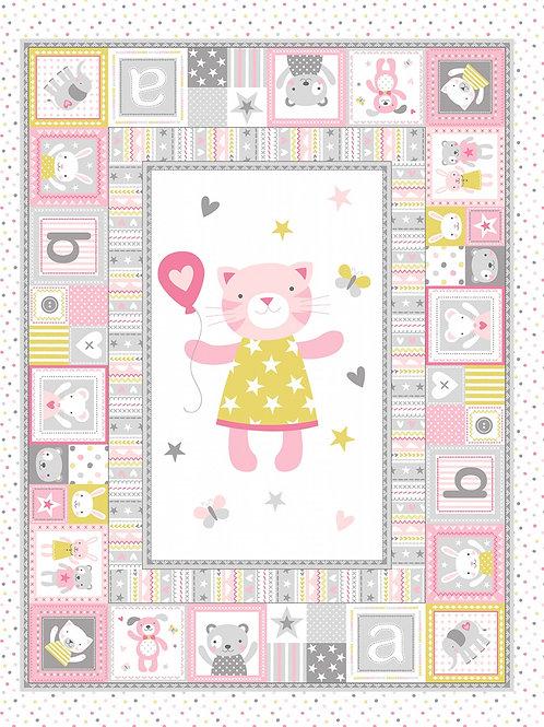 Blossom Cuddly Cat Quilt Panel