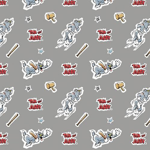 Grey Tom - Tom and Jerry Foes Forever Fabric