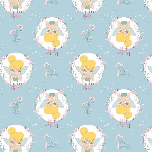 Light Blue Disney Tinker Bell Floral Badges Fabric