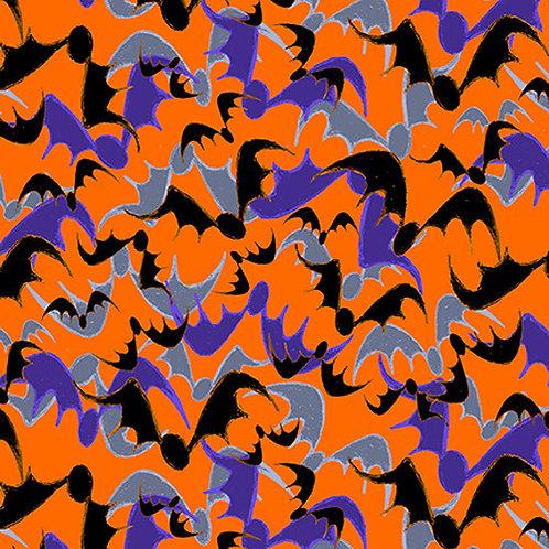 Witchful Thinking Orange Bats Halloween Fabric