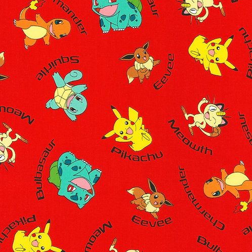 LP Red Character Names Pokemon Fabric