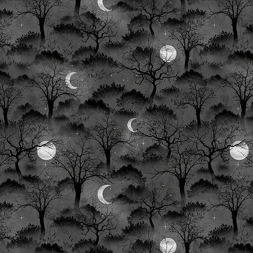 Frightful Night Black Halloween Trees and Moons Fabric