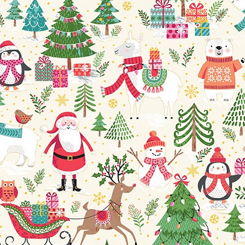 Let it Snow Scenic Makower Christmas Fabric