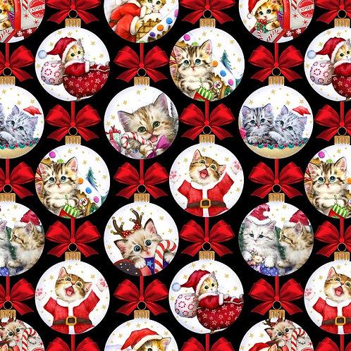 Christmas Kitten Baubles Fabric