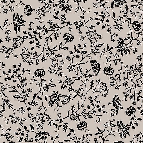 Spooky Night Grey Pumpkin Vines Fabric