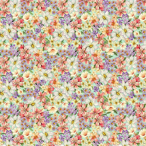 Songs of the Flower Fairies Garden of the Fairies Fabric - Green