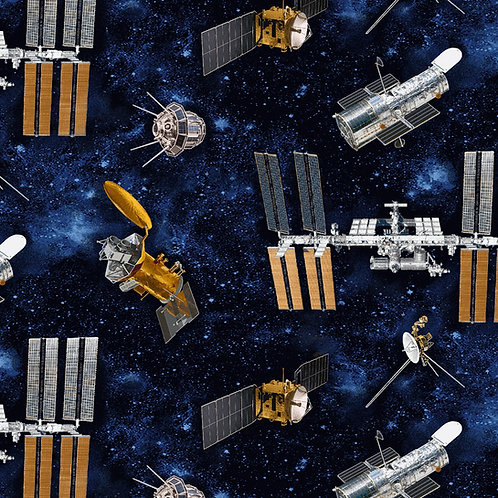 Planetary Missions Blue Satellites Fabric