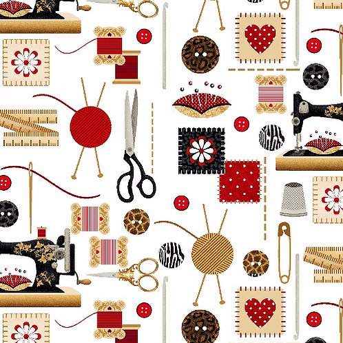 White Sewing Accessories Fabric