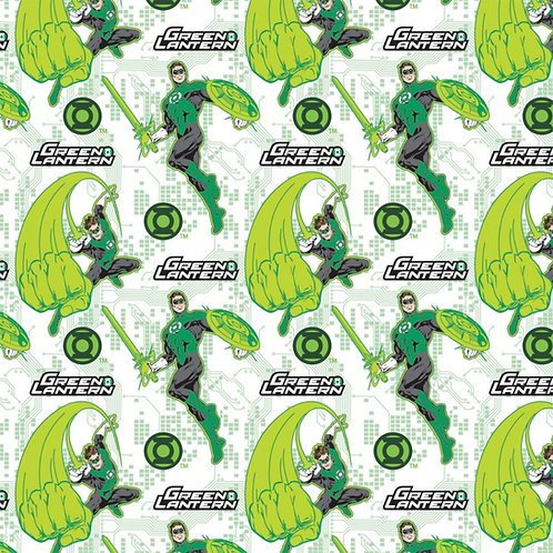 DC Comics Green Lantern Fear Nothing Fabric - White