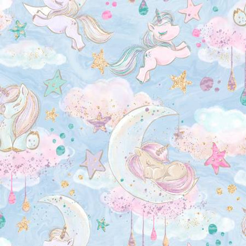 Blue Unicorn Clouds With Glitter Fabric
