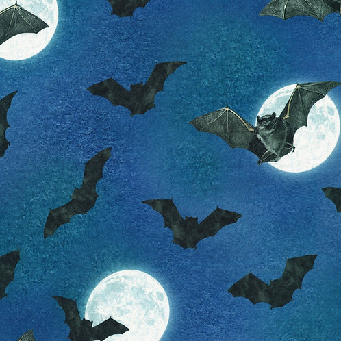 Spooky Raven Moon Bats and Moon Fabric