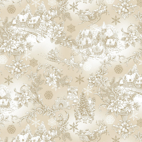 Ecru Christmas Scene Fabric