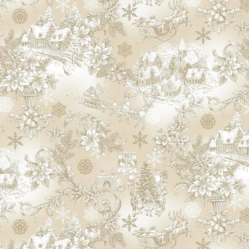 LP Ecru Christmas Scene Fabric