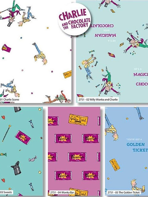 Charlie and the Chocolate Factory Fat Quarter Bundle x 5