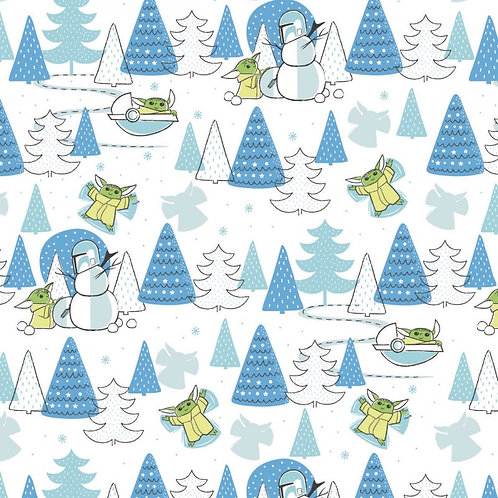 Star Wars Child Yoda Snow Day Christmas Fabric