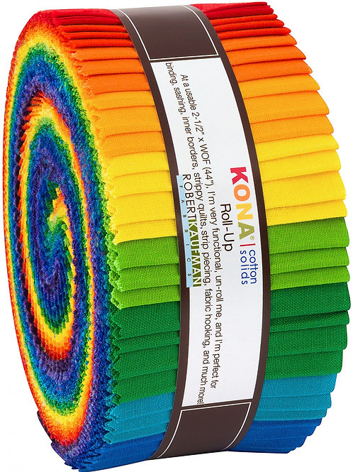 Robert Kaufman Bright Rainbow Kona Solids Roll Up