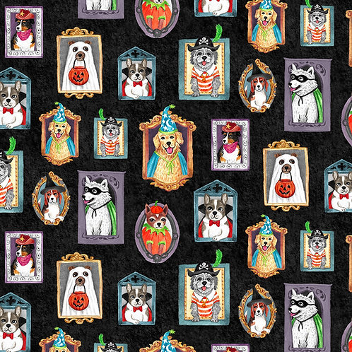 Black Canine Court Halloween Fabric
