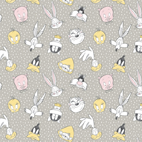 LP Looney Tunes Character Heads Fabric