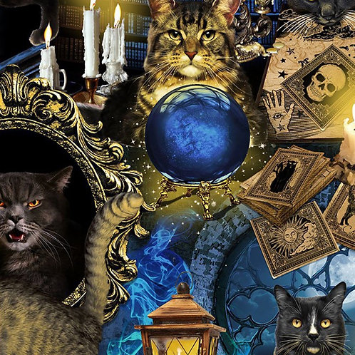 Mystical Spooky Cats Fabric