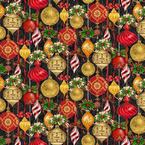 Black Christmas Ornaments Allover Fabric