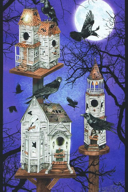 Gumdrop Raven Moon House Halloween Panel